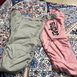 Pink and Gray Scrunchie Pants